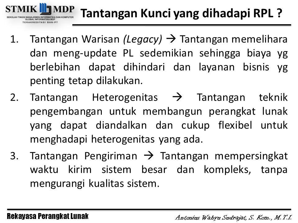 Rekayasa Perangkat Lunak Antonius Wahyu Sudrajat, S. Kom., M.T.I. Tantangan Kunci yang dihadapi RPL ? 1.Tantangan Warisan (Legacy)  Tantangan memelih