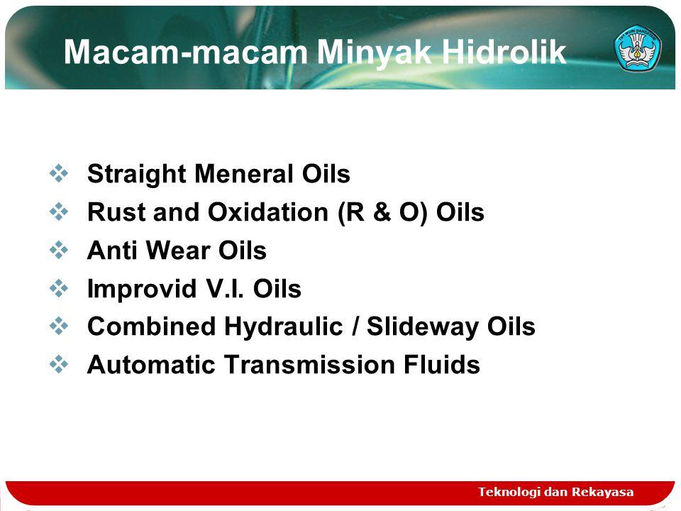 Teknologi dan Rekayasa  Straight Meneral Oils  Rust and Oxidation (R & O) Oils  Anti Wear Oils  Improvid V.I. Oils  Combined Hydraulic / Slideway