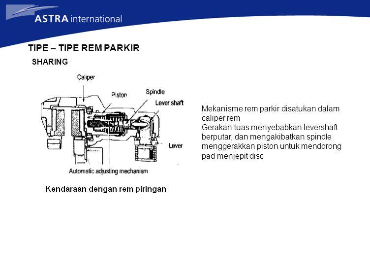 TIPE – TIPE REM PARKIR SHARING Mekanisme rem parkir disatukan dalam caliper rem Gerakan tuas menyebabkan levershaft berputar, dan mengakibatkan spindl