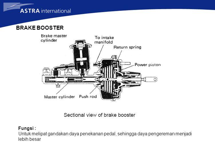 BRAKE BOOSTER Fungsi : Untuk melipat gandakan daya penekanan pedal, sehingga daya pengereman menjadi lebih besar
