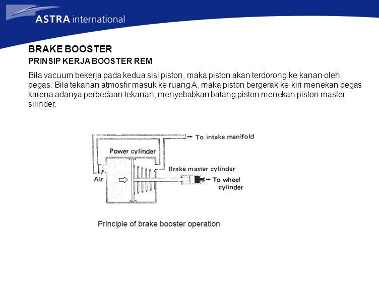 BRAKE BOOSTER PRINSIP KERJA BOOSTER REM Bila vacuum bekerja pada kedua sisi piston, maka piston akan terdorong ke kanan oleh pegas. Bila tekanan atmos