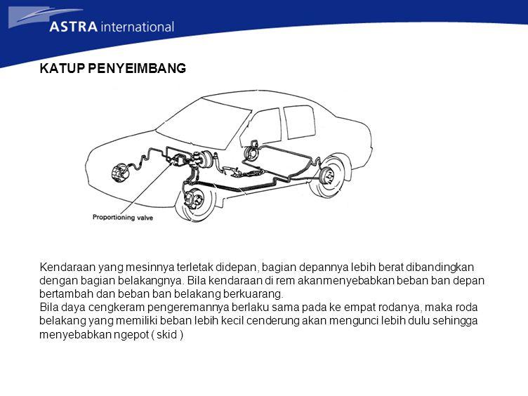 KATUP PENYEIMBANG Kendaraan yang mesinnya terletak didepan, bagian depannya lebih berat dibandingkan dengan bagian belakangnya. Bila kendaraan di rem