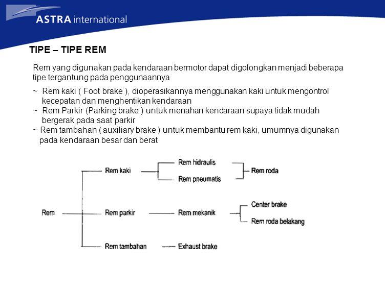 TIPE – TIPE REM Rem yang digunakan pada kendaraan bermotor dapat digolongkan menjadi beberapa tipe tergantung pada penggunaannya ~ Rem kaki ( Foot bra