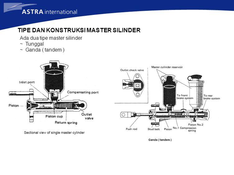 TIPE DAN KONSTRUKSI MASTER SILINDER Ada dua tipe master silinder ~ Tunggal ~ Ganda ( tandem )