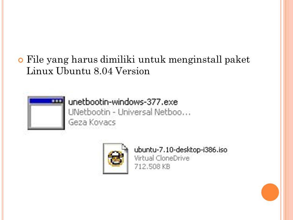File yang harus dimiliki untuk menginstall paket Linux Ubuntu 8.04 Version