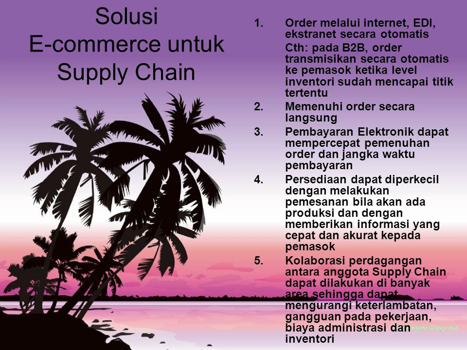 Solusi E-commerce untuk Supply Chain 1.Order melalui internet, EDI, ekstranet secara otomatis Cth: pada B2B, order transmisikan secara otomatis ke pem