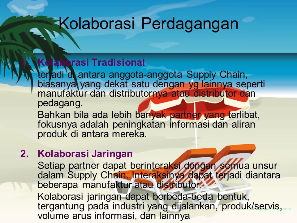 Kolaborasi Perdagangan 1.Kolaborasi Tradisional terjadi di antara anggota-anggota Supply Chain, biasanya yang dekat satu dengan yg lainnya seperti man