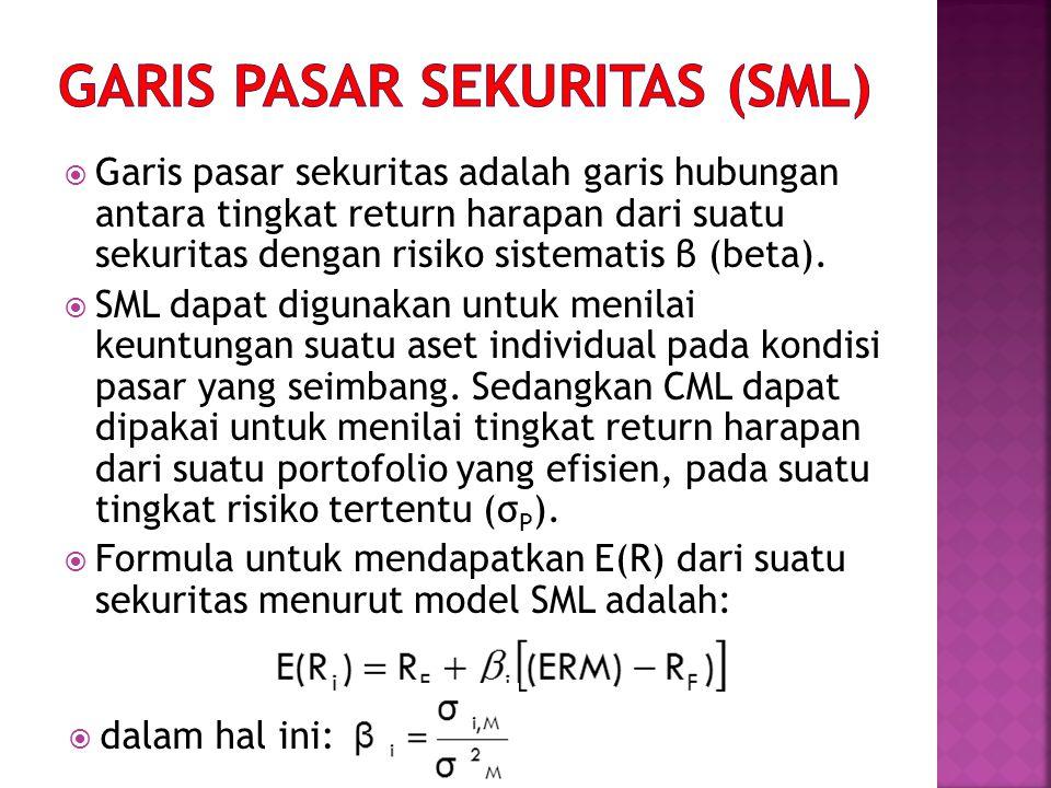  Garis pasar sekuritas adalah garis hubungan antara tingkat return harapan dari suatu sekuritas dengan risiko sistematis β (beta).  SML dapat diguna