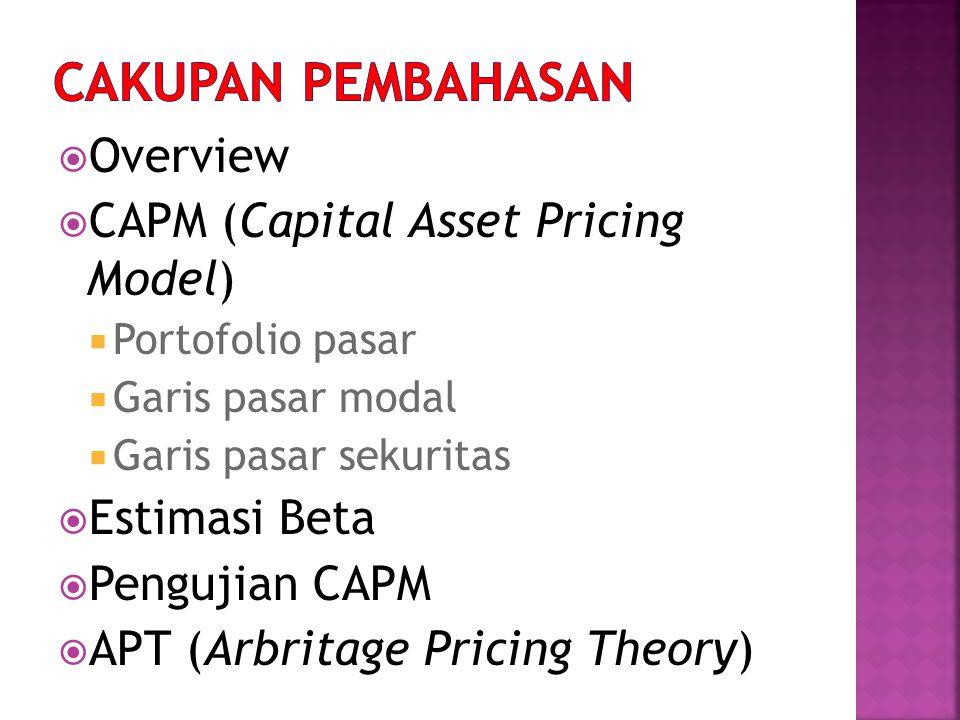  Overview  CAPM (Capital Asset Pricing Model)  Portofolio pasar  Garis pasar modal  Garis pasar sekuritas  Estimasi Beta  Pengujian CAPM  APT (Arbritage Pricing Theory)