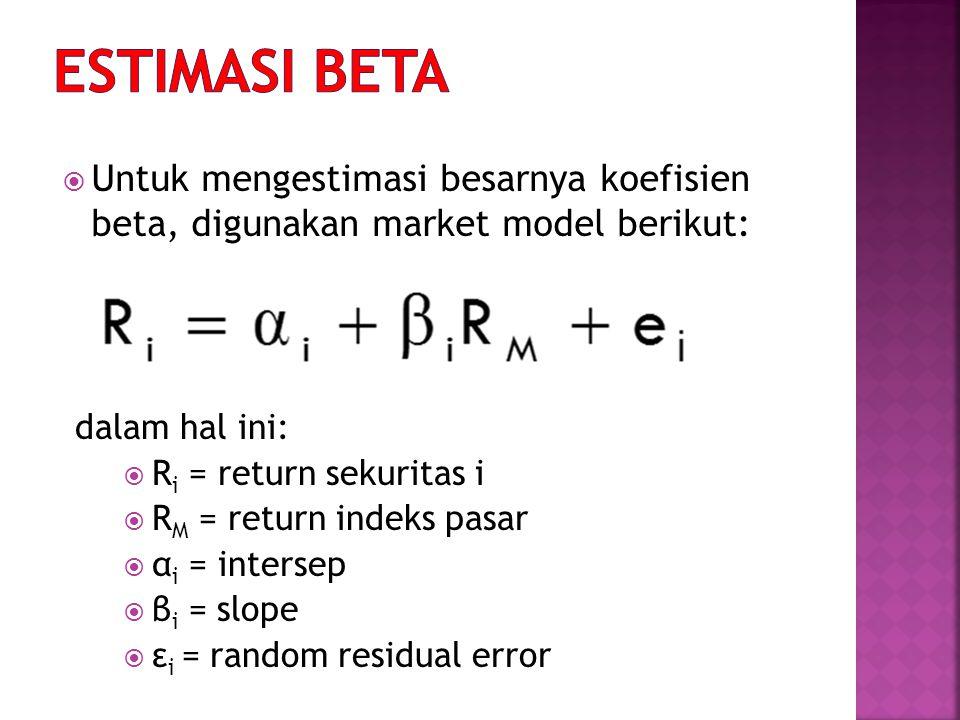  Untuk mengestimasi besarnya koefisien beta, digunakan market model berikut: dalam hal ini:  R i = return sekuritas i  R M = return indeks pasar  α i = intersep  β i = slope  ε i = random residual error