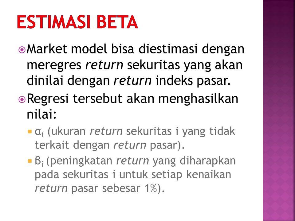  Market model bisa diestimasi dengan meregres return sekuritas yang akan dinilai dengan return indeks pasar.  Regresi tersebut akan menghasilkan nil