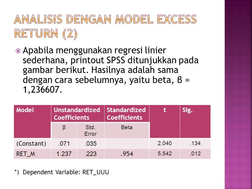  Apabila menggunakan regresi linier sederhana, printout SPSS ditunjukkan pada gambar berikut. Hasilnya adalah sama dengan cara sebelumnya, yaitu beta