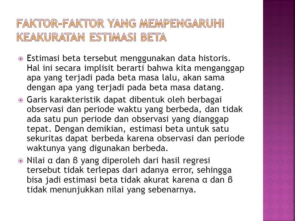  Estimasi beta tersebut menggunakan data historis. Hal ini secara implisit berarti bahwa kita menganggap apa yang terjadi pada beta masa lalu, akan s