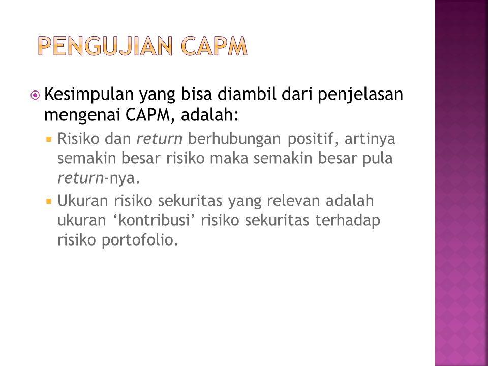  Kesimpulan yang bisa diambil dari penjelasan mengenai CAPM, adalah:  Risiko dan return berhubungan positif, artinya semakin besar risiko maka semak