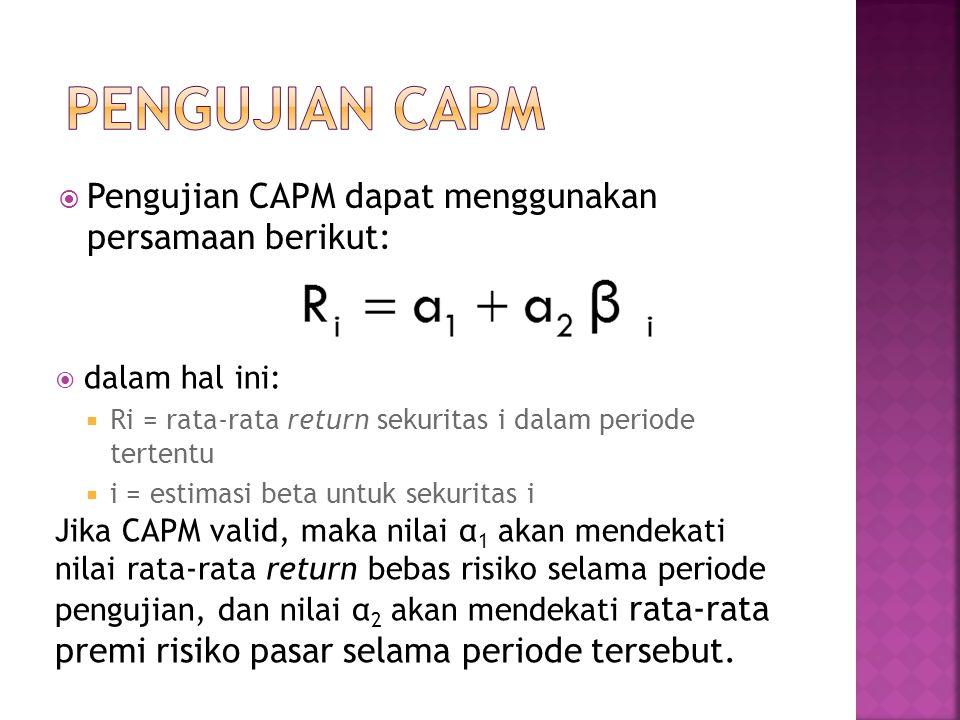  Pengujian CAPM dapat menggunakan persamaan berikut:  dalam hal ini:  Ri = rata-rata return sekuritas i dalam periode tertentu  i = estimasi beta