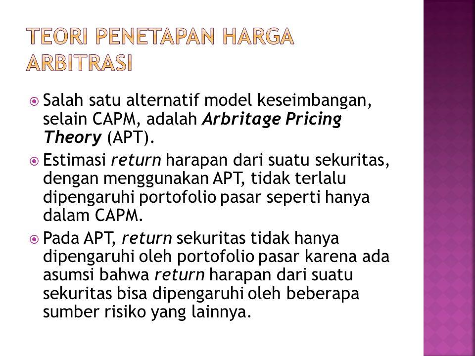  Salah satu alternatif model keseimbangan, selain CAPM, adalah Arbritage Pricing Theory (APT).