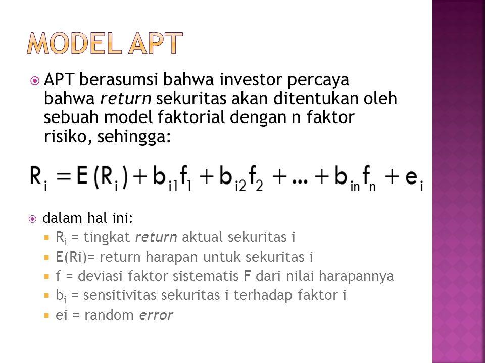  APT berasumsi bahwa investor percaya bahwa return sekuritas akan ditentukan oleh sebuah model faktorial dengan n faktor risiko, sehingga:  dalam ha