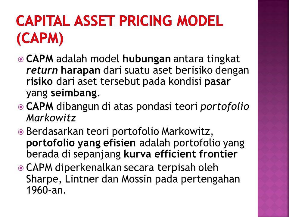 Asumsi-asumsi model CAPM:  Investor akan mendiversifikasikan portolionya dan memilih portofolio yang optimal sesuai dengan garis portofolio efisien.