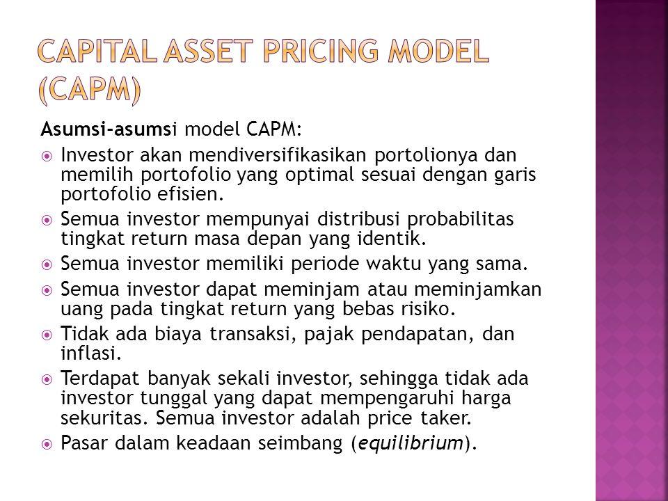  Pada kondisi pasar yang seimbang, semua investor akan memilih portofolio pasar (portofolio optimal yang berada di sepanjang kurva efficient frontier).