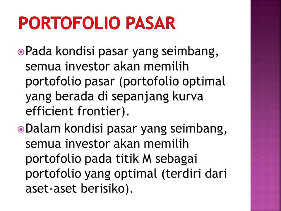 Pada kondisi pasar yang seimbang, semua investor akan memilih portofolio pasar (portofolio optimal yang berada di sepanjang kurva efficient frontier