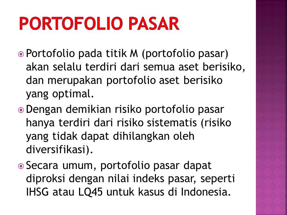  Portofolio pada titik M (portofolio pasar) akan selalu terdiri dari semua aset berisiko, dan merupakan portofolio aset berisiko yang optimal.  Deng