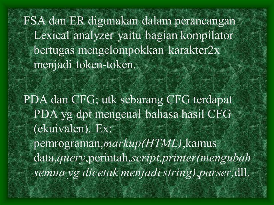 FSA dan ER digunakan dalam perancangan Lexical analyzer yaitu bagian kompilator bertugas mengelompokkan karakter2x menjadi token-token.