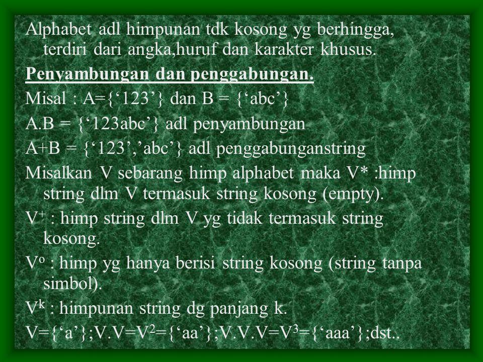 Alphabet adl himpunan tdk kosong yg berhingga, terdiri dari angka,huruf dan karakter khusus. Penyambungan dan penggabungan. Misal : A={'123'} dan B =