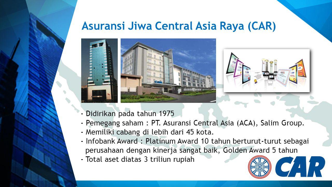 Asuransi Jiwa Central Asia Raya (CAR) - Didirikan pada tahun 1975 - Pemegang saham : PT. Asuransi Central Asia (ACA), Salim Group. - Memiliki cabang d