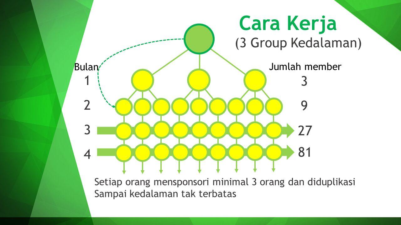 Cara Kerja (3 Group Kedalaman) 1 2 3 4 3 9 27 81 Setiap orang mensponsori minimal 3 orang dan diduplikasi Sampai kedalaman tak terbatas Bulan Jumlah m