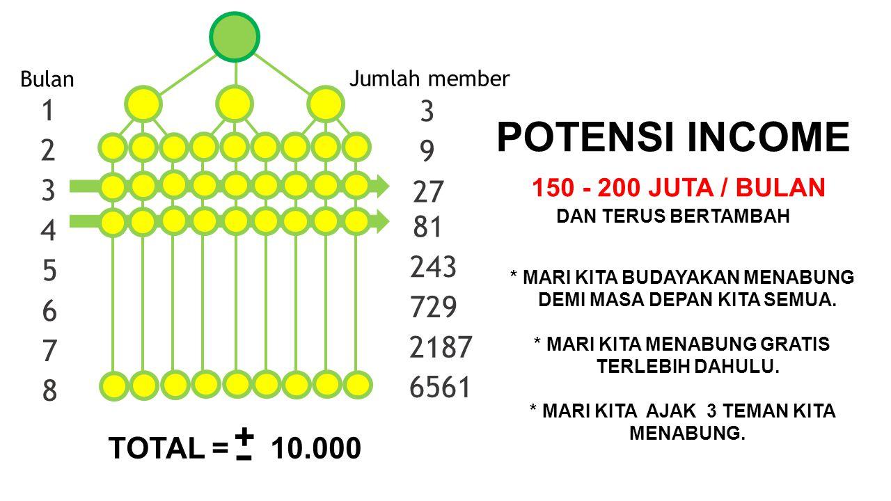 1 2 3 4 3 9 27 81 Bulan Jumlah member 5 6 7 8 243 729 2187 6561 + TOTAL = 10.000 - POTENSI INCOME 150 - 200 JUTA / BULAN DAN TERUS BERTAMBAH * MARI KI