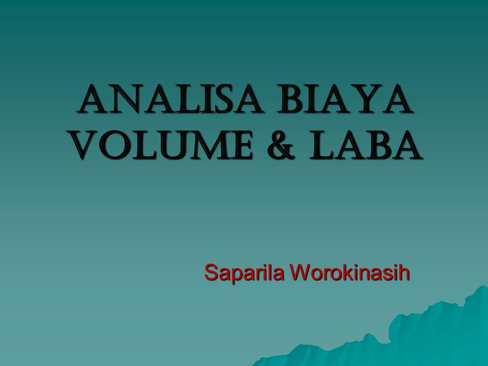 Break Even Point Suatu teknik analisa untuk mempelajari hubungan antara biaya tetap, biaya variabel, keuntungan dan volume kegiatan Sering pula disebut Cost - Profit - Volume analysis (C.P.V.