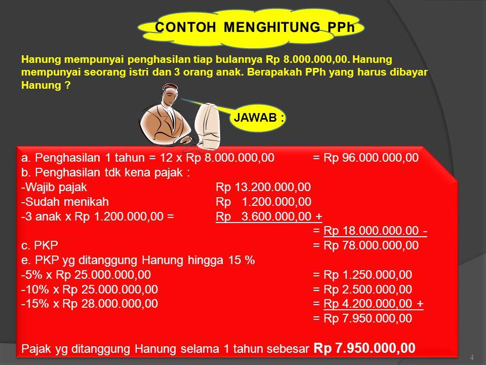 4 Hanung mempunyai penghasilan tiap bulannya Rp 8.000.000,00.