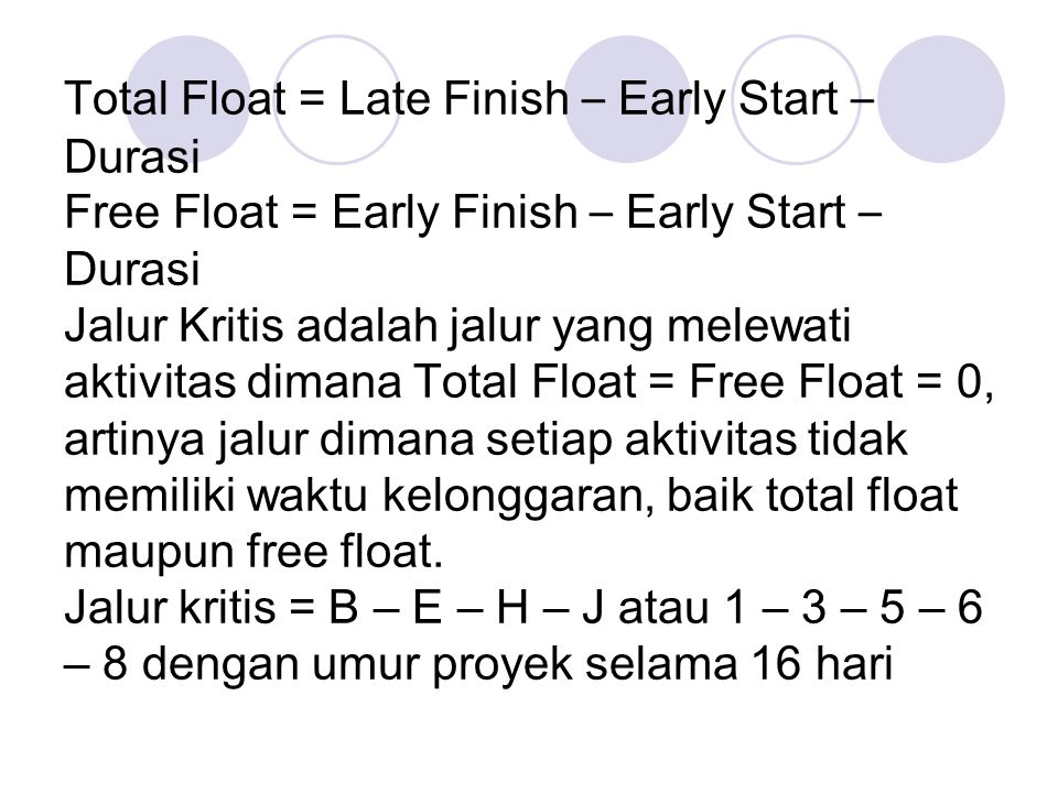 Total Float = Late Finish – Early Start – Durasi Free Float = Early Finish – Early Start – Durasi Jalur Kritis adalah jalur yang melewati aktivitas di