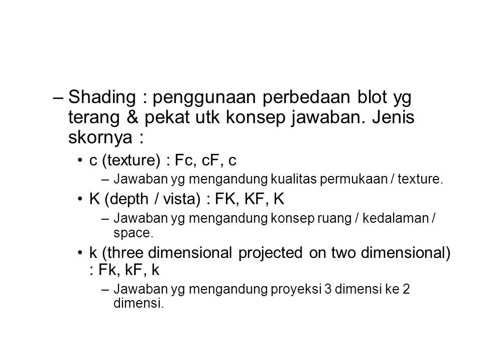 –Shading : penggunaan perbedaan blot yg terang & pekat utk konsep jawaban. Jenis skornya : c (texture) : Fc, cF, c –Jawaban yg mengandung kualitas per
