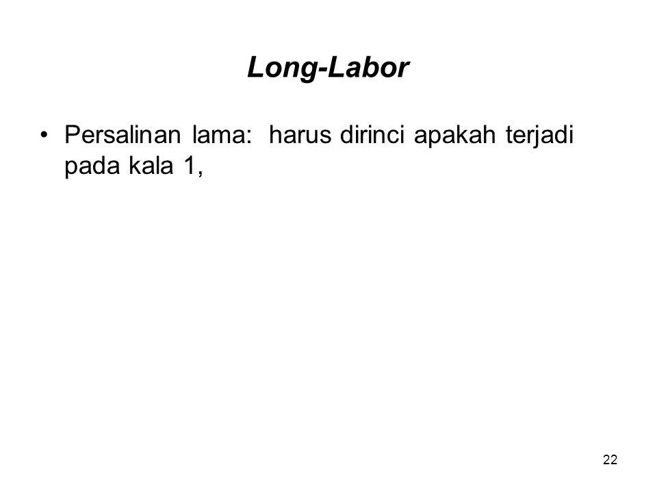Long-Labor Persalinan lama: harus dirinci apakah terjadi pada kala 1, 22