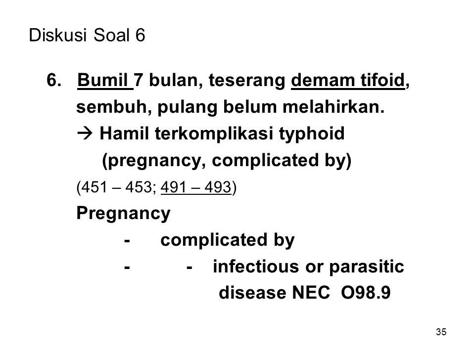 35 Diskusi Soal 6 6. Bumil 7 bulan, teserang demam tifoid, sembuh, pulang belum melahirkan.  Hamil terkomplikasi typhoid (pregnancy, complicated by)