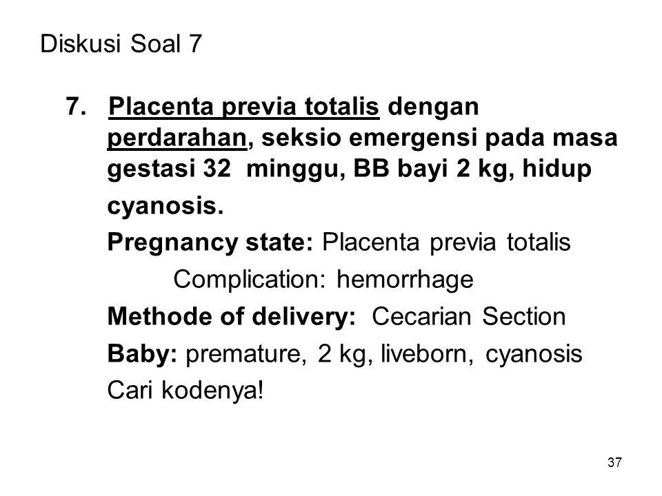 37 Diskusi Soal 7 7. Placenta previa totalis dengan perdarahan, seksio emergensi pada masa gestasi 32 minggu, BB bayi 2 kg, hidup cyanosis. Pregnancy