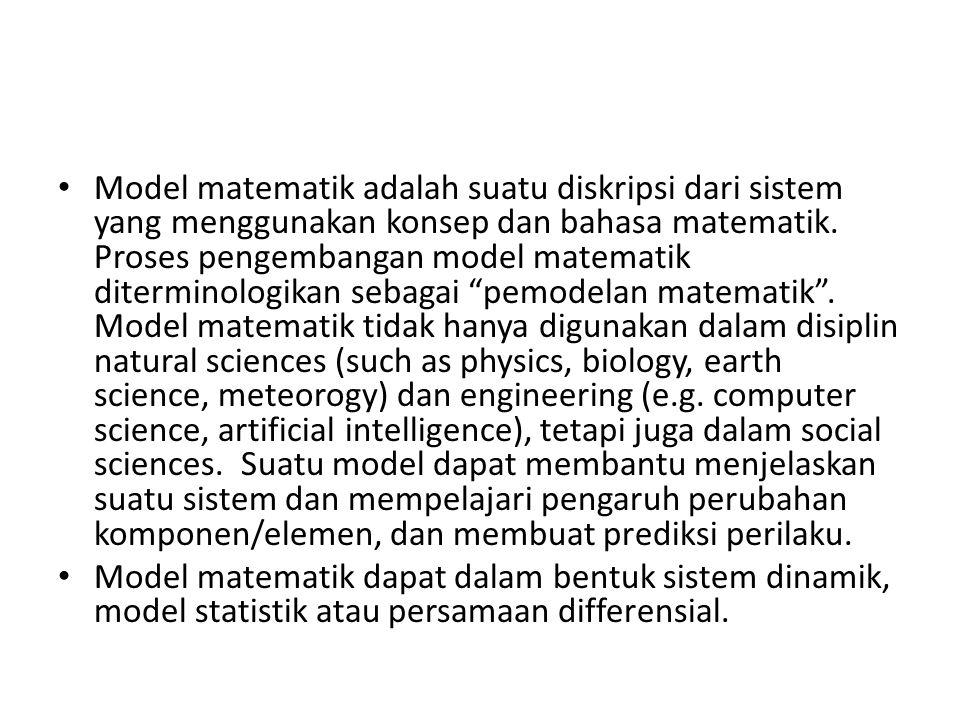 Model matematik adalah suatu diskripsi dari sistem yang menggunakan konsep dan bahasa matematik.
