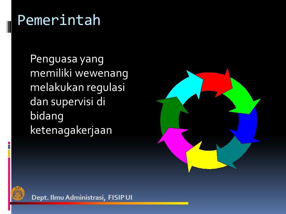 Pemerintah Penguasa yang memiliki wewenang melakukan regulasi dan supervisi di bidang ketenagakerjaan Dept. Ilmu Administrasi, FISIP UI