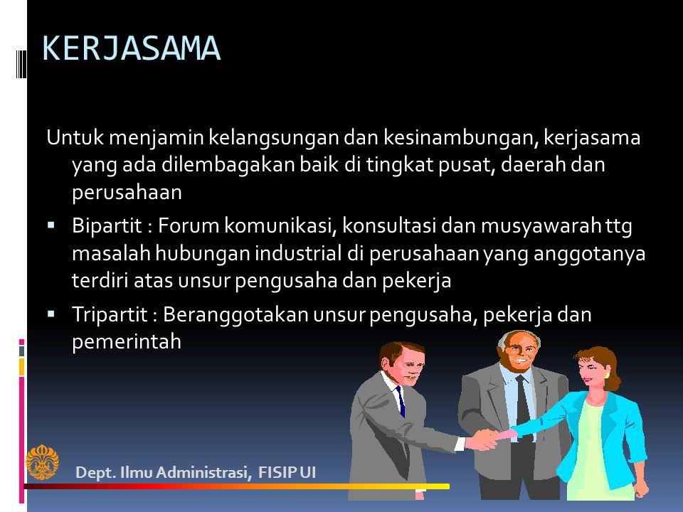 KERJASAMA Untuk menjamin kelangsungan dan kesinambungan, kerjasama yang ada dilembagakan baik di tingkat pusat, daerah dan perusahaan  Bipartit : For