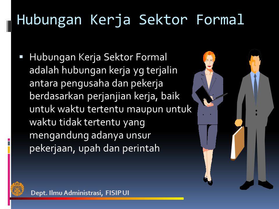 Hubungan Kerja Sektor Formal  Hubungan Kerja Sektor Formal adalah hubungan kerja yg terjalin antara pengusaha dan pekerja berdasarkan perjanjian kerja, baik untuk waktu tertentu maupun untuk waktu tidak tertentu yang mengandung adanya unsur pekerjaan, upah dan perintah Dept.
