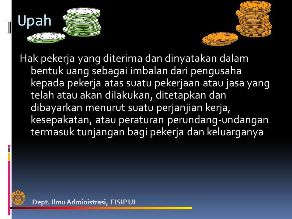 Upah Hak pekerja yang diterima dan dinyatakan dalam bentuk uang sebagai imbalan dari pengusaha kepada pekerja atas suatu pekerjaan atau jasa yang tela