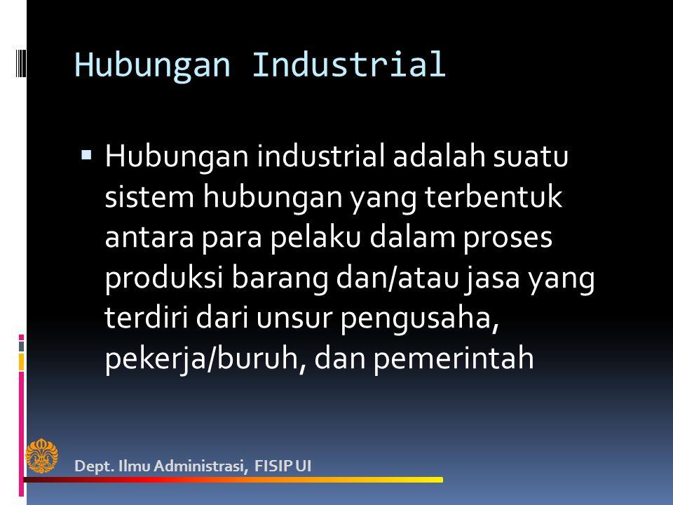 Hubungan Industrial  Hubungan industrial adalah suatu sistem hubungan yang terbentuk antara para pelaku dalam proses produksi barang dan/atau jasa yang terdiri dari unsur pengusaha, pekerja/buruh, dan pemerintah Dept.