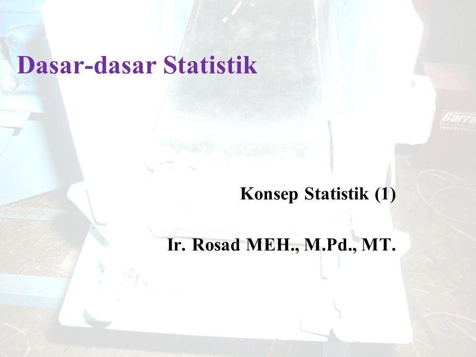 Dasar-dasar Statistik Konsep Statistik (1) Ir. Rosad MEH., M.Pd., MT.