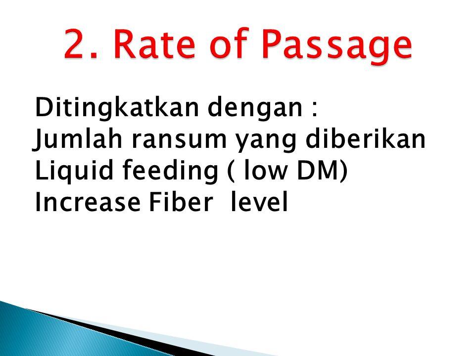 Ditingkatkan dengan : Jumlah ransum yang diberikan Liquid feeding ( low DM) Increase Fiber level