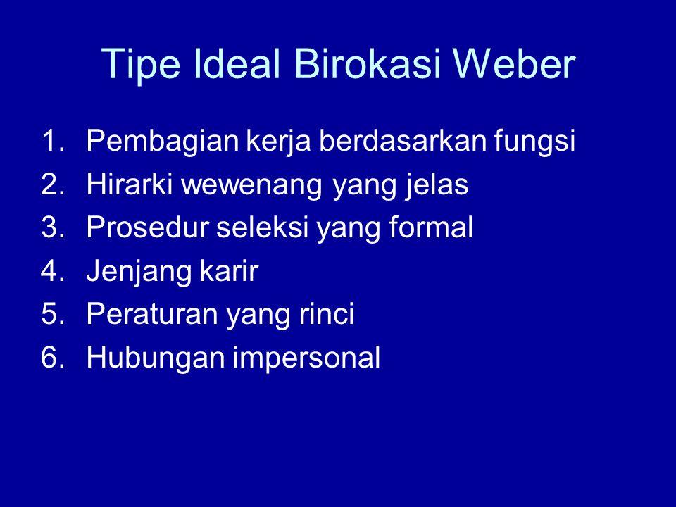 Tipe Ideal Birokasi Weber 1.Pembagian kerja berdasarkan fungsi 2.Hirarki wewenang yang jelas 3.Prosedur seleksi yang formal 4.Jenjang karir 5.Peraturan yang rinci 6.Hubungan impersonal