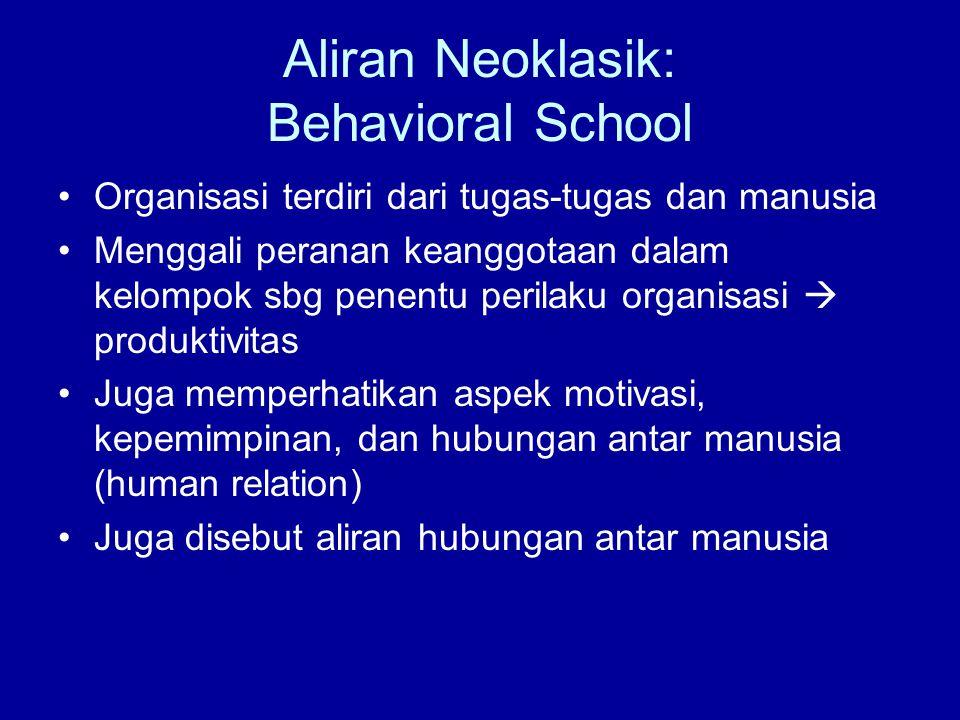 Aliran Neoklasik: Behavioral School Organisasi terdiri dari tugas-tugas dan manusia Menggali peranan keanggotaan dalam kelompok sbg penentu perilaku organisasi  produktivitas Juga memperhatikan aspek motivasi, kepemimpinan, dan hubungan antar manusia (human relation) Juga disebut aliran hubungan antar manusia