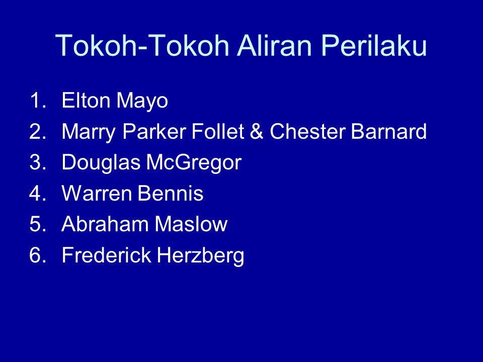 Tokoh-Tokoh Aliran Perilaku 1.Elton Mayo 2.Marry Parker Follet & Chester Barnard 3.Douglas McGregor 4.Warren Bennis 5.Abraham Maslow 6.Frederick Herzberg