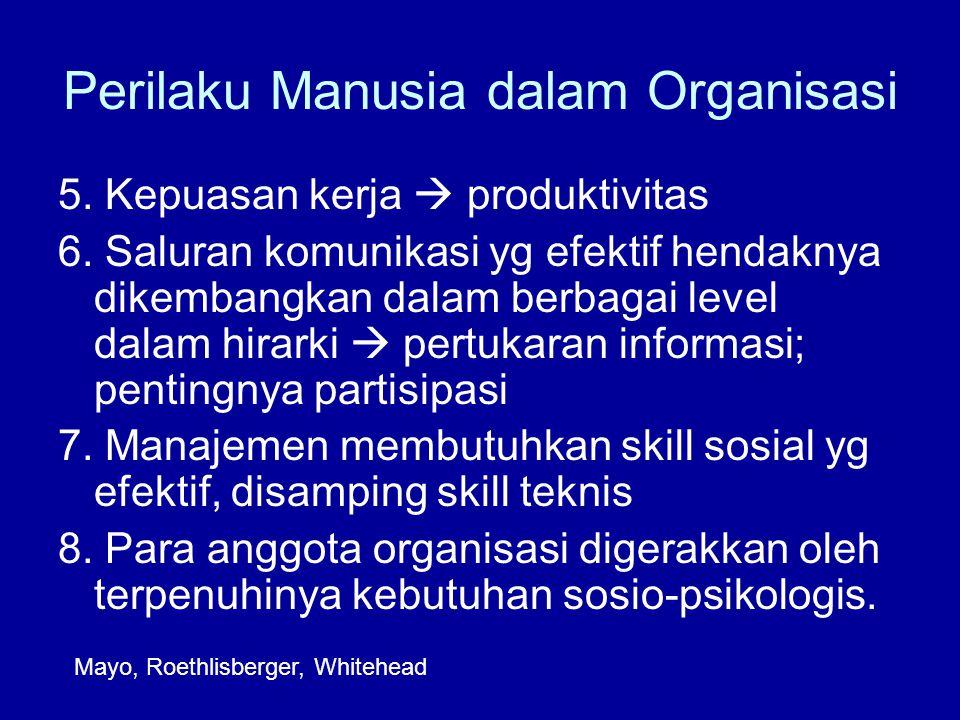 Perilaku Manusia dalam Organisasi 5.Kepuasan kerja  produktivitas 6.