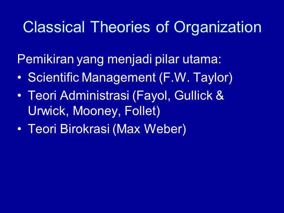 Pilar Utama Rasionalitas Aliran Klasik Division of labor (specialization)  Adam Smith: –10 labors/day = 48.000 paku –Without Spec= 10-200 paku Scalar and functional processes (hierarchy) Structures Span of control